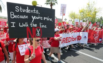Arizona Teachers Go On Strike And March To State Capitol
